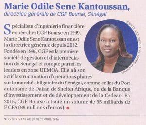 Marie Odile Sène Kantoussan, DG CGF Bourse