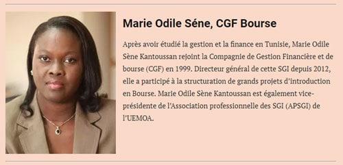 Marie Odile Sène Kantoussan, classement Financial Afrik